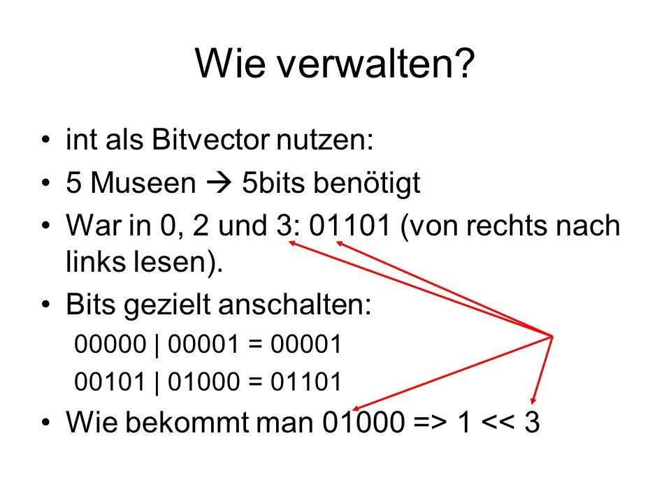 Wie verwalten? int als Bitvector nutzen: 5 Museen 5bits benötigt War in 0, 2 und 3: 01101 (von rechts nach links lesen). Bits gezielt anschalten: 0000