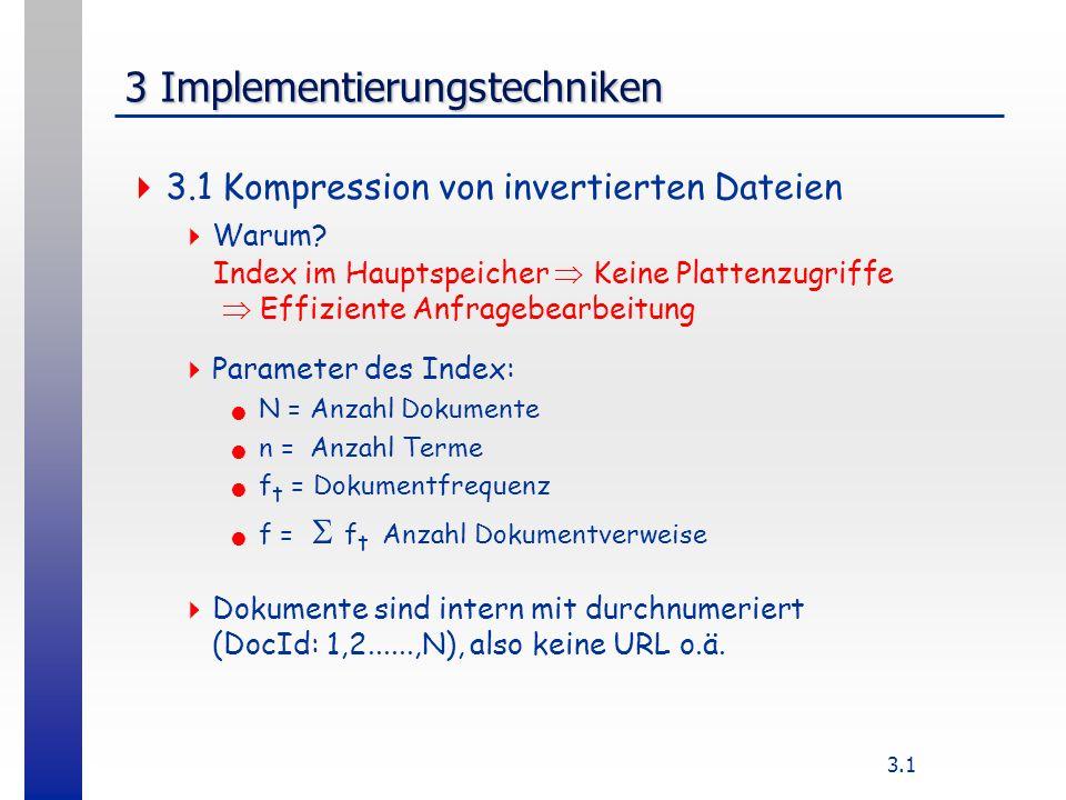 3.1 3 Implementierungstechniken 3.1 Kompression von invertierten Dateien Warum.