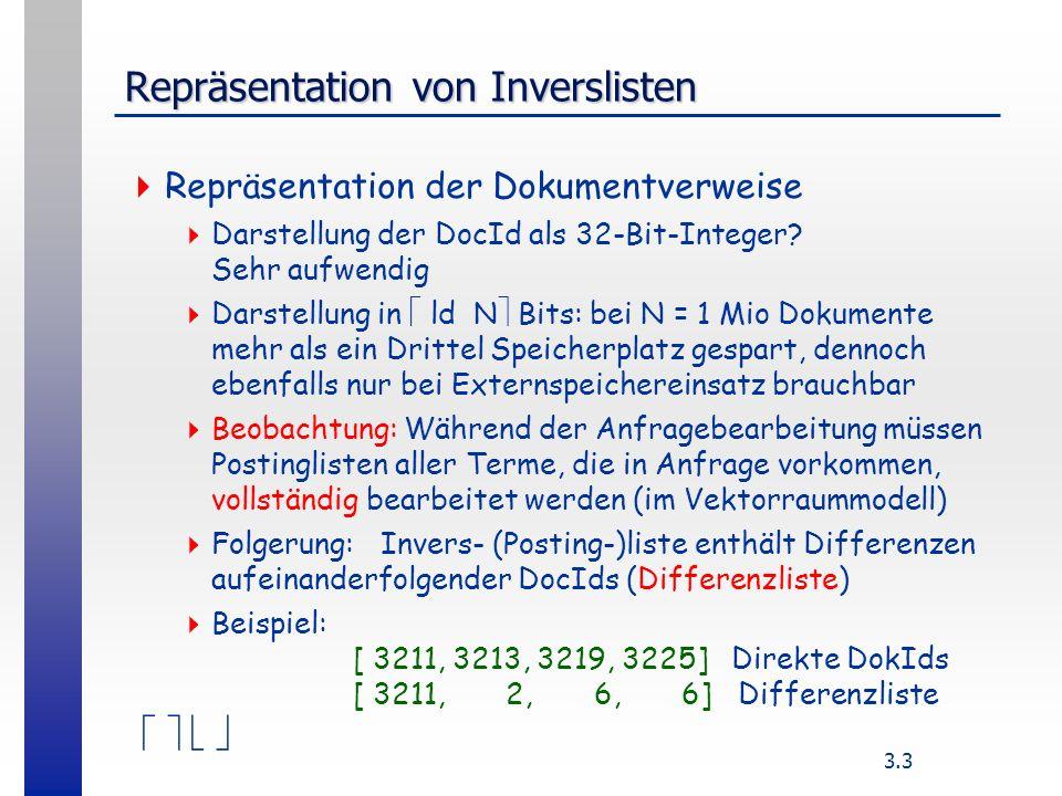 3.3 Repräsentation von Inverslisten Repräsentation der Dokumentverweise Darstellung der DocId als 32-Bit-Integer.