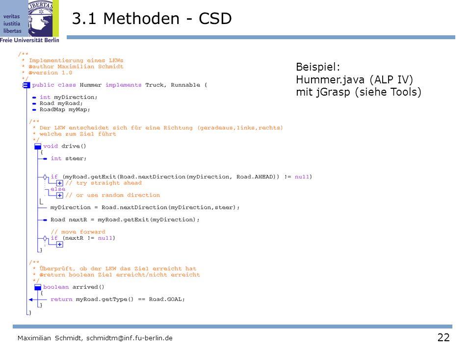 22 Maximilian Schmidt, schmidtm@inf.fu-berlin.de 3.1 Methoden - CSD Beispiel: Hummer.java (ALP IV) mit jGrasp (siehe Tools)