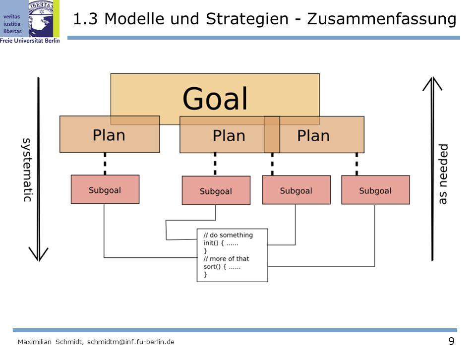 9 Maximilian Schmidt, schmidtm@inf.fu-berlin.de 1.3 Modelle und Strategien - Zusammenfassung