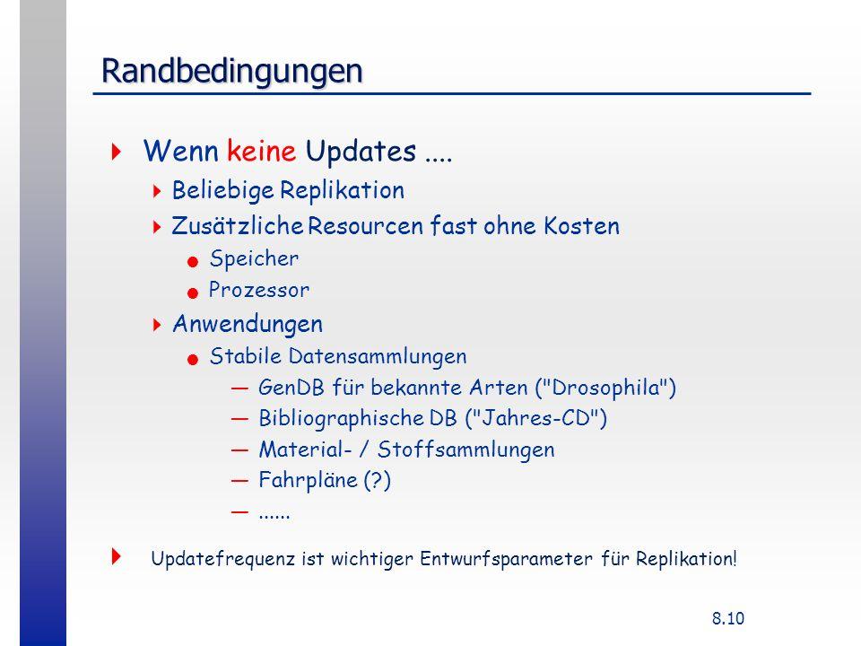 8.10 Randbedingungen Wenn keine Updates.... Beliebige Replikation Zusätzliche Resourcen fast ohne Kosten Speicher Prozessor Anwendungen Stabile Datens