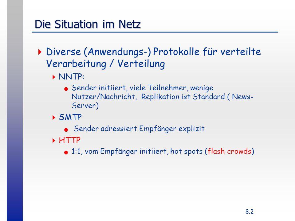 8.2 Die Situation im Netz Diverse (Anwendungs-) Protokolle für verteilte Verarbeitung / Verteilung NNTP: Sender initiiert, viele Teilnehmer, wenige Nutzer/Nachricht, Replikation ist Standard ( News- Server) SMTP Sender adressiert Empfänger explizit HTTP 1:1, vom Empfänger initiiert, hot spots (flash crowds)