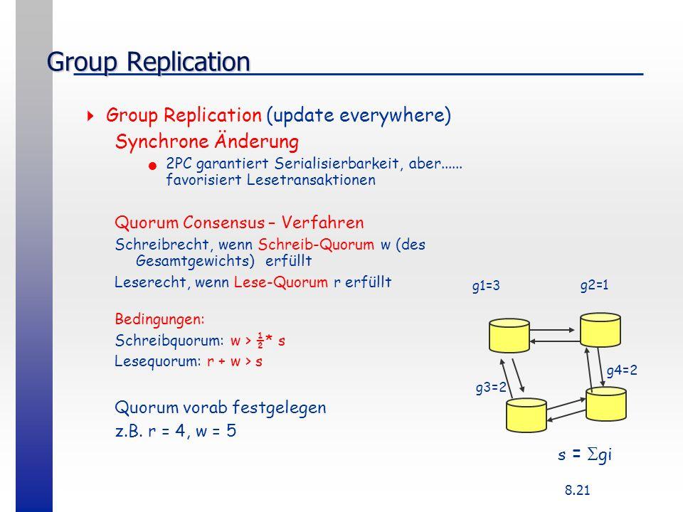 8.21 Group Replication Group Replication (update everywhere) Synchrone Änderung 2PC garantiert Serialisierbarkeit, aber...... favorisiert Lesetransakt