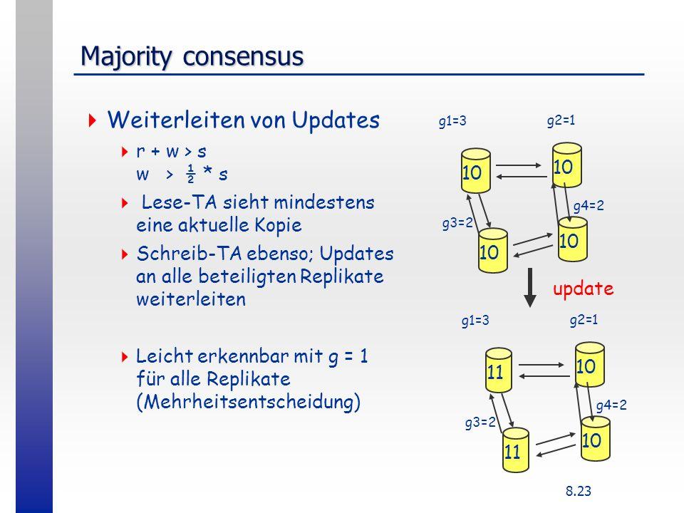 8.23 Majority consensus Weiterleiten von Updates r + w > s w > ½ * s Lese-TA sieht mindestens eine aktuelle Kopie Schreib-TA ebenso; Updates an alle beteiligten Replikate weiterleiten Leicht erkennbar mit g = 1 für alle Replikate (Mehrheitsentscheidung) 10 g1=3 g2=1 g3=2 g4=2 11 10 11 10 g1=3 g2=1 g3=2 g4=2 update