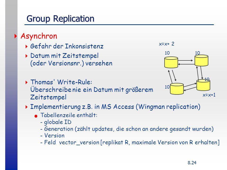 8.24 Group Replication Asynchron Gefahr der Inkonsistenz Datum mit Zeitstempel (oder Versionsnr.) versehen Thomas Write-Rule: Überschreibe nie ein Datum mit größerem Zeitstempel Implementierung z.B.