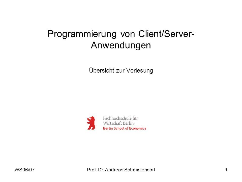 WS06/07Prof. Dr. Andreas Schmietendorf1 Programmierung von Client/Server- Anwendungen Übersicht zur Vorlesung