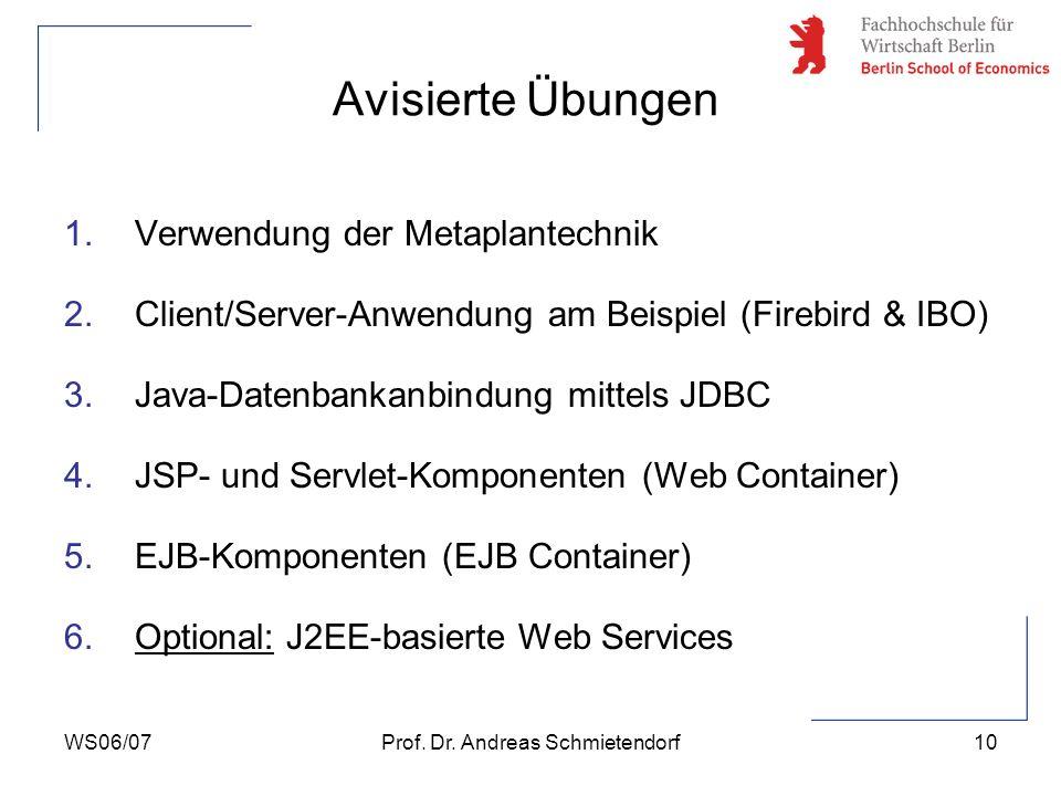 WS06/07Prof. Dr. Andreas Schmietendorf10 Avisierte Übungen 1.Verwendung der Metaplantechnik 2.Client/Server-Anwendung am Beispiel (Firebird & IBO) 3.J