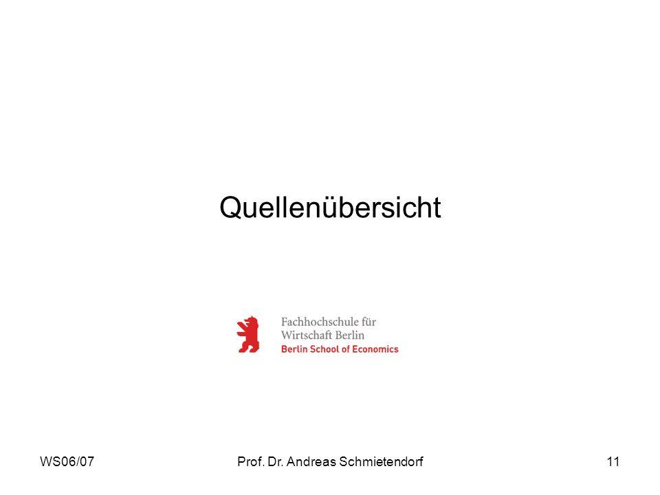 WS06/07Prof. Dr. Andreas Schmietendorf11 Quellenübersicht