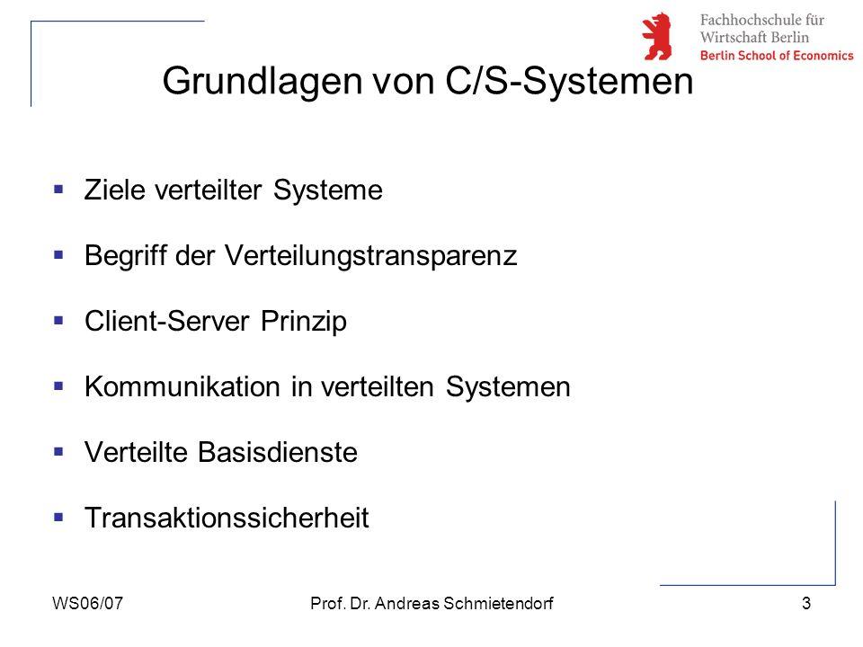 WS06/07Prof. Dr. Andreas Schmietendorf3 Grundlagen von C/S-Systemen Ziele verteilter Systeme Begriff der Verteilungstransparenz Client-Server Prinzip
