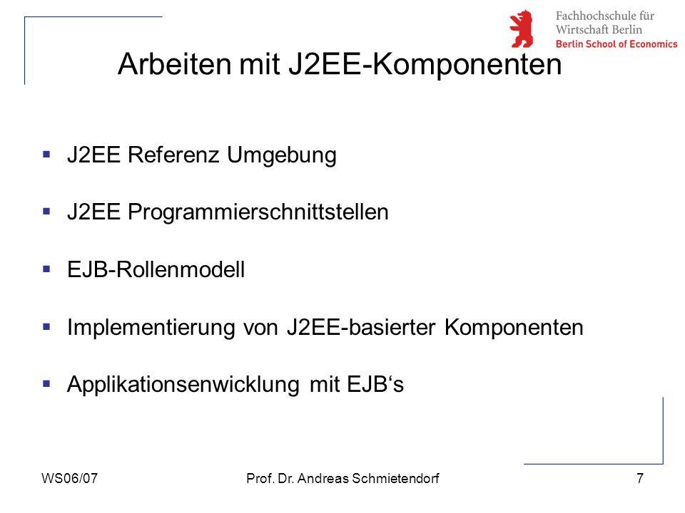 WS06/07Prof. Dr. Andreas Schmietendorf7 Arbeiten mit J2EE-Komponenten J2EE Referenz Umgebung J2EE Programmierschnittstellen EJB-Rollenmodell Implement