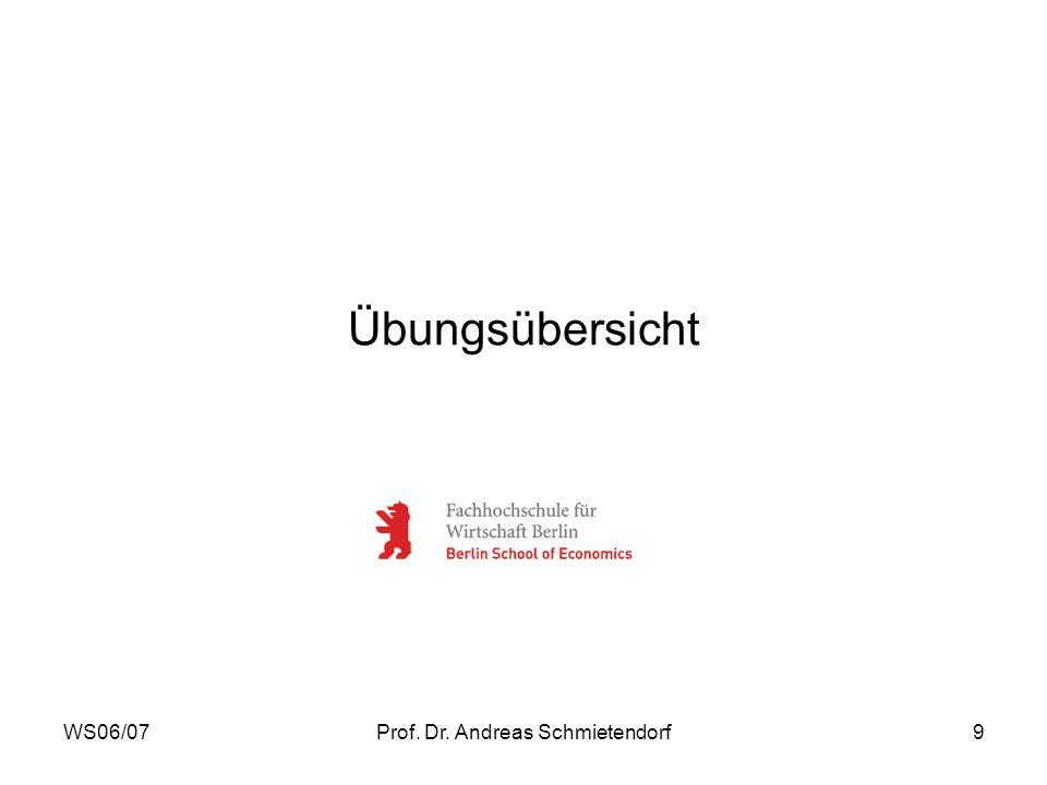 WS06/07Prof. Dr. Andreas Schmietendorf9 Übungsübersicht