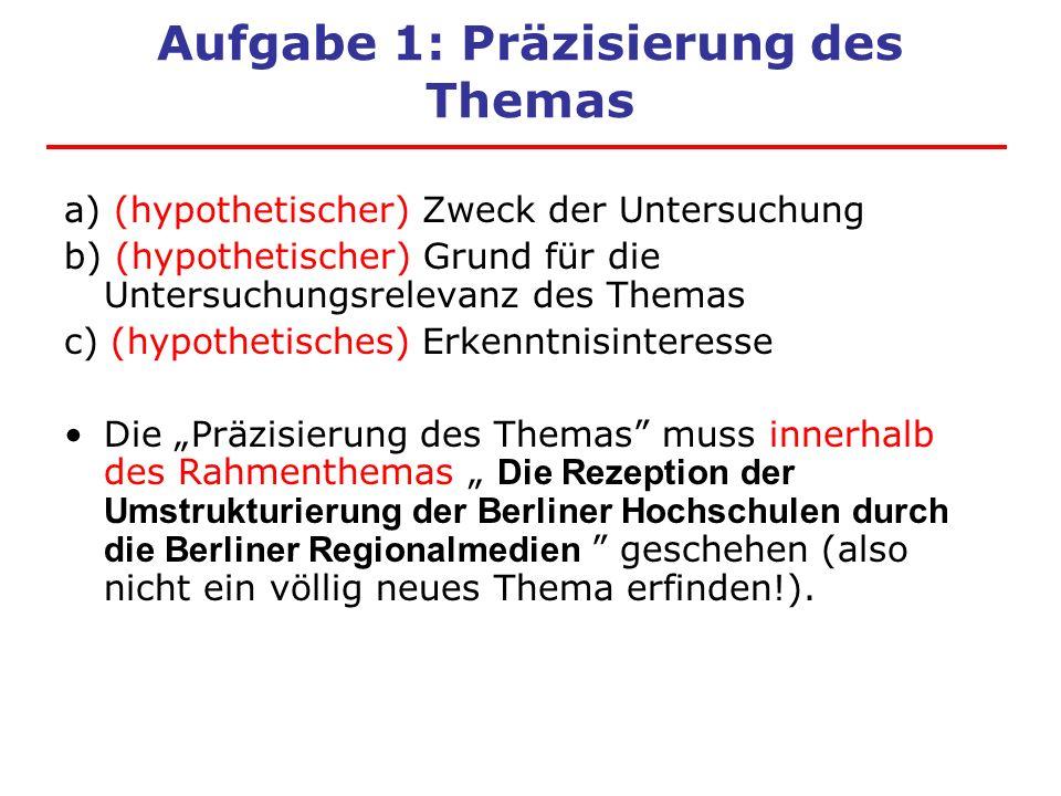 Aufgabe 1: Präzisierung des Themas a) (hypothetischer) Zweck der Untersuchung b) (hypothetischer) Grund für die Untersuchungsrelevanz des Themas c) (h