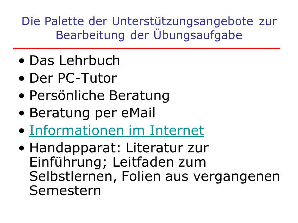 Die Palette der Unterstützungsangebote zur Bearbeitung der Übungsaufgabe Das Lehrbuch Der PC-Tutor Persönliche Beratung Beratung per eMail Information