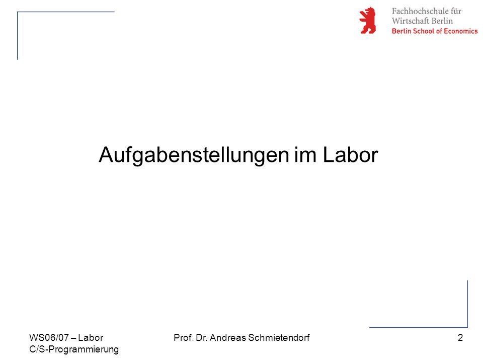 2 Prof. Dr. Andreas SchmietendorfWS06/07 – Labor C/S-Programmierung Aufgabenstellungen im Labor