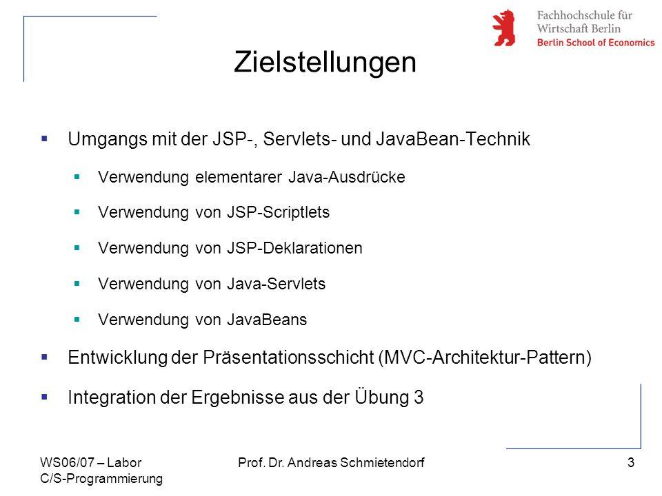 4 Prof. Dr. Andreas SchmietendorfWS06/07 – Labor C/S-Programmierung Apache Tomkat