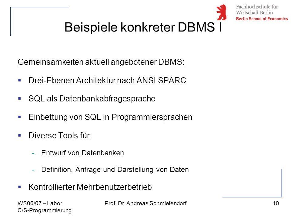 10 Prof. Dr. Andreas SchmietendorfWS06/07 – Labor C/S-Programmierung Gemeinsamkeiten aktuell angebotener DBMS: Drei-Ebenen Architektur nach ANSI SPARC