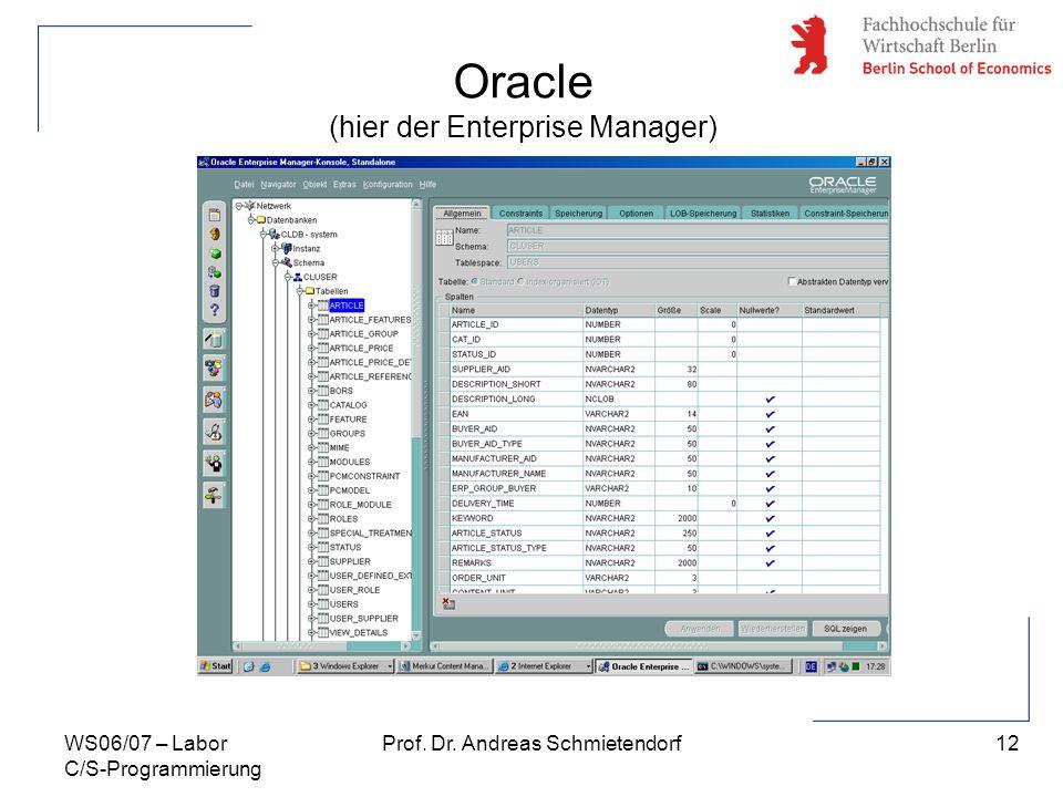 12 Prof. Dr. Andreas SchmietendorfWS06/07 – Labor C/S-Programmierung Oracle (hier der Enterprise Manager)