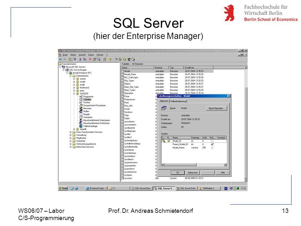13 Prof. Dr. Andreas SchmietendorfWS06/07 – Labor C/S-Programmierung SQL Server (hier der Enterprise Manager)