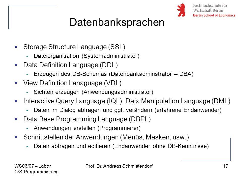 17 Prof. Dr. Andreas SchmietendorfWS06/07 – Labor C/S-Programmierung Datenbanksprachen Storage Structure Language (SSL) -Dateiorganisation (Systemadmi