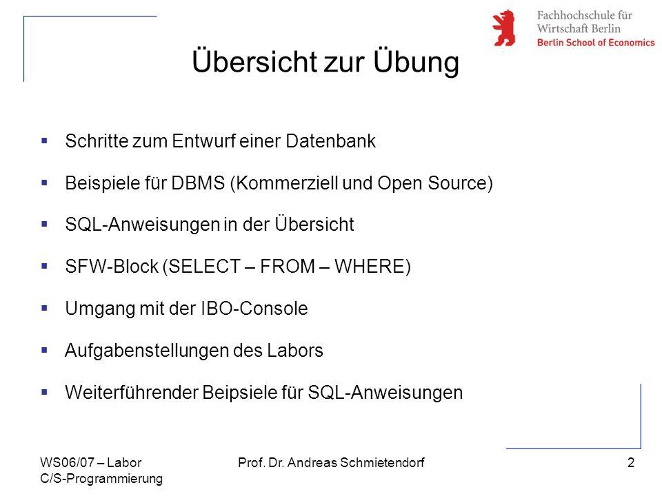 2 Prof. Dr. Andreas SchmietendorfWS06/07 – Labor C/S-Programmierung Schritte zum Entwurf einer Datenbank Beispiele für DBMS (Kommerziell und Open Sour