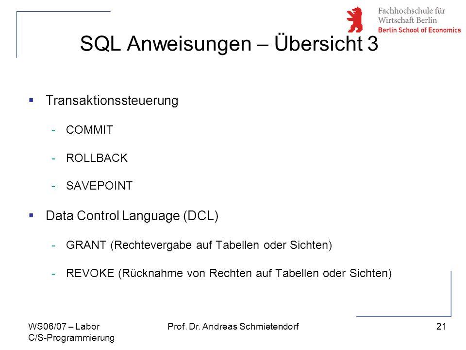 21 Prof. Dr. Andreas SchmietendorfWS06/07 – Labor C/S-Programmierung SQL Anweisungen – Übersicht 3 Transaktionssteuerung -COMMIT -ROLLBACK -SAVEPOINT