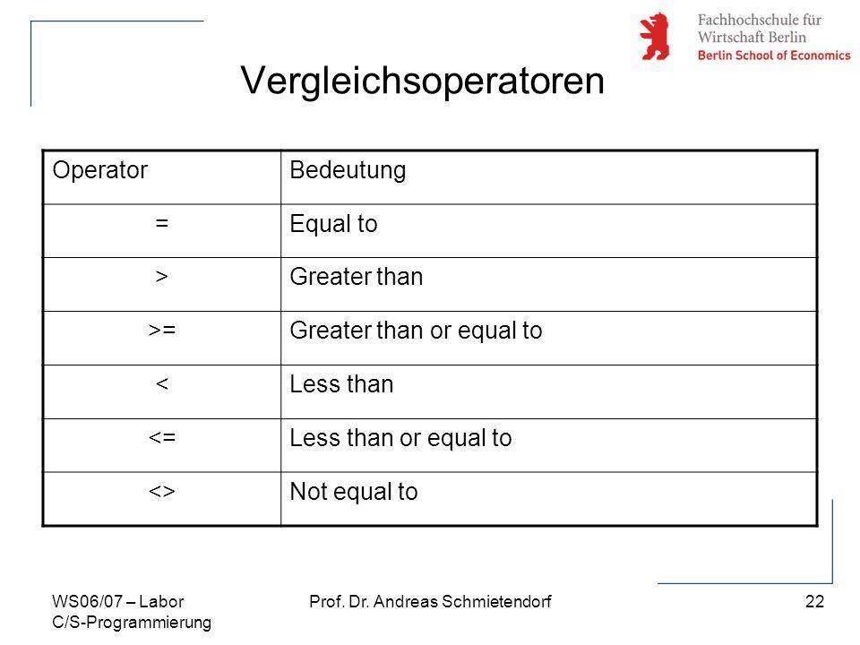 22 Prof. Dr. Andreas SchmietendorfWS06/07 – Labor C/S-Programmierung Vergleichsoperatoren OperatorBedeutung =Equal to >Greater than >=Greater than or