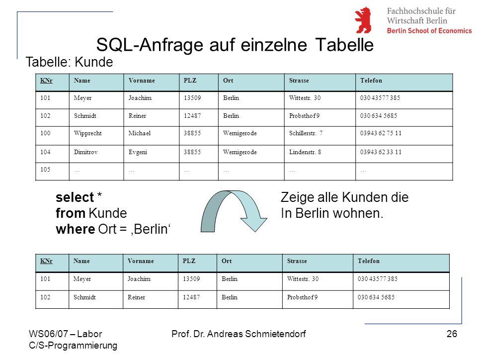26 Prof. Dr. Andreas SchmietendorfWS06/07 – Labor C/S-Programmierung SQL-Anfrage auf einzelne Tabelle KNrNameVornamePLZOrtStrasseTelefon 101MeyerJoach