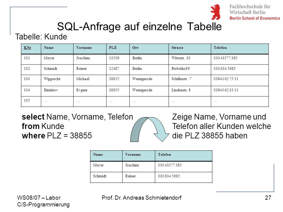 27 Prof. Dr. Andreas SchmietendorfWS06/07 – Labor C/S-Programmierung SQL-Anfrage auf einzelne Tabelle KNrNameVornamePLZOrtStrasseTelefon 101MeyerJoach