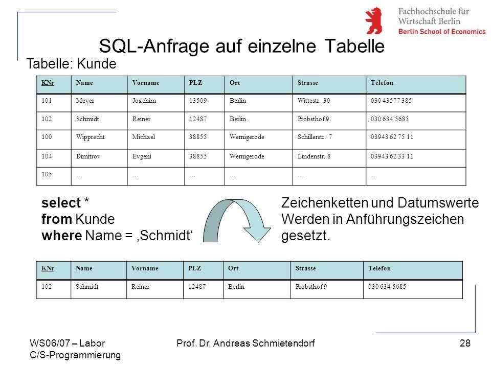 28 Prof. Dr. Andreas SchmietendorfWS06/07 – Labor C/S-Programmierung SQL-Anfrage auf einzelne Tabelle KNrNameVornamePLZOrtStrasseTelefon 101MeyerJoach
