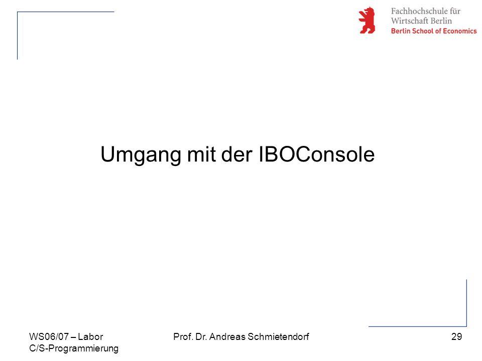 29 Prof. Dr. Andreas SchmietendorfWS06/07 – Labor C/S-Programmierung Umgang mit der IBOConsole