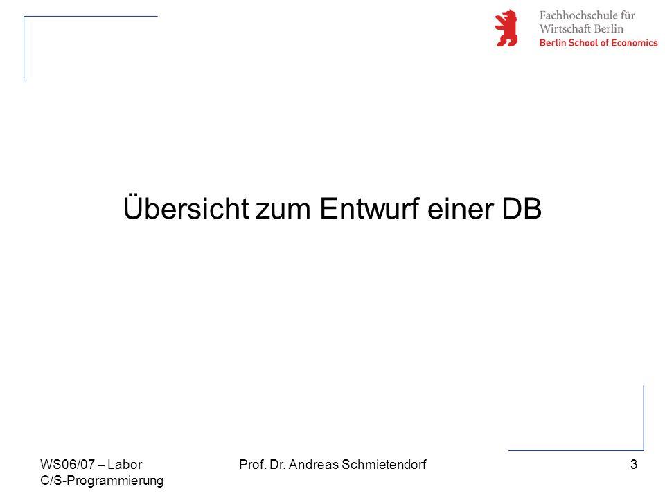 3 Prof. Dr. Andreas SchmietendorfWS06/07 – Labor C/S-Programmierung Übersicht zum Entwurf einer DB