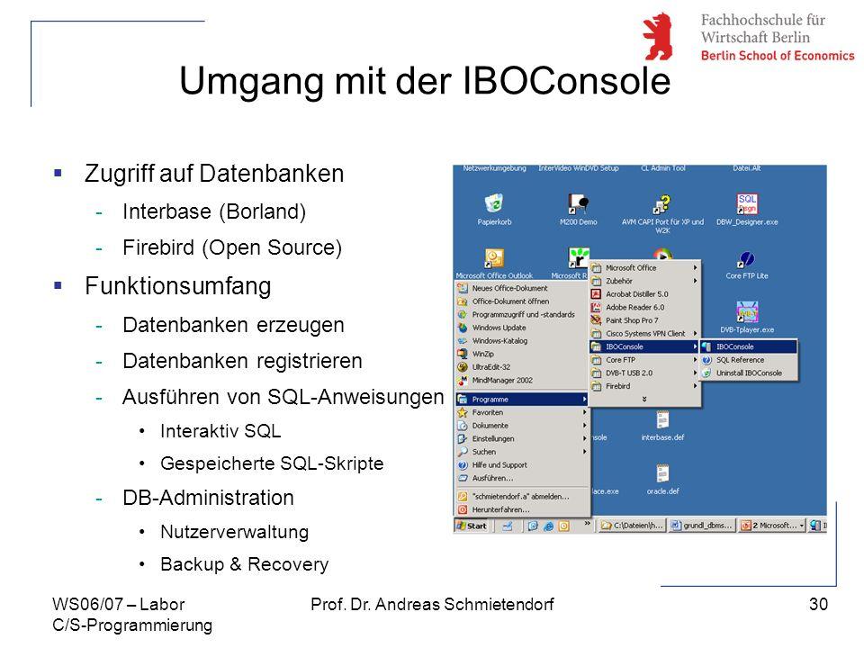 30 Prof. Dr. Andreas SchmietendorfWS06/07 – Labor C/S-Programmierung Umgang mit der IBOConsole Zugriff auf Datenbanken -Interbase (Borland) -Firebird
