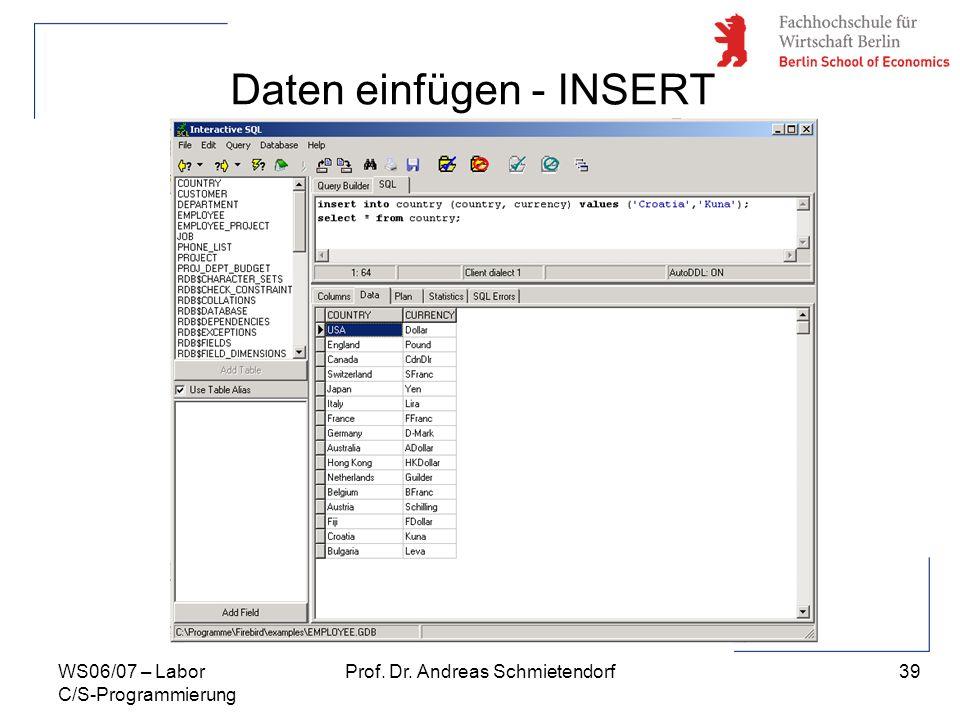 39 Prof. Dr. Andreas SchmietendorfWS06/07 – Labor C/S-Programmierung Daten einfügen - INSERT