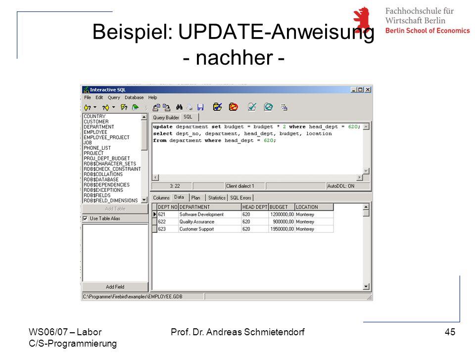 45 Prof. Dr. Andreas SchmietendorfWS06/07 – Labor C/S-Programmierung Beispiel: UPDATE-Anweisung - nachher -