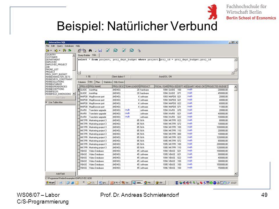 49 Prof. Dr. Andreas SchmietendorfWS06/07 – Labor C/S-Programmierung Beispiel: Natürlicher Verbund
