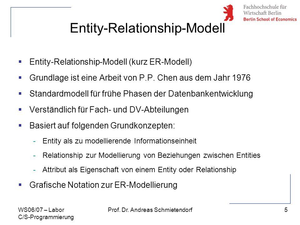 5 Prof. Dr. Andreas SchmietendorfWS06/07 – Labor C/S-Programmierung Entity-Relationship-Modell Entity-Relationship-Modell (kurz ER-Modell) Grundlage i