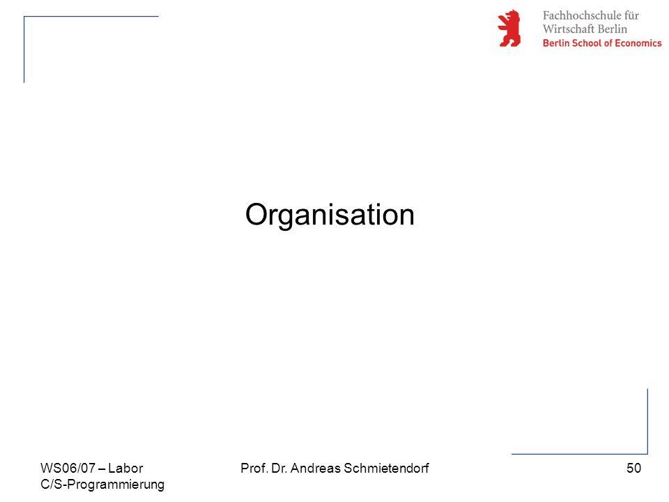 50 Prof. Dr. Andreas SchmietendorfWS06/07 – Labor C/S-Programmierung Organisation