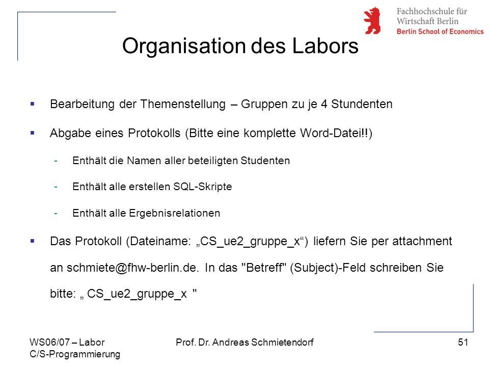 51 Prof. Dr. Andreas SchmietendorfWS06/07 – Labor C/S-Programmierung Organisation des Labors Bearbeitung der Themenstellung – Gruppen zu je 4 Stundent