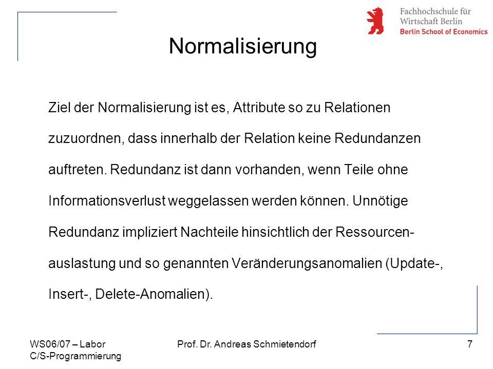 7 Prof. Dr. Andreas SchmietendorfWS06/07 – Labor C/S-Programmierung Normalisierung Ziel der Normalisierung ist es, Attribute so zu Relationen zuzuordn