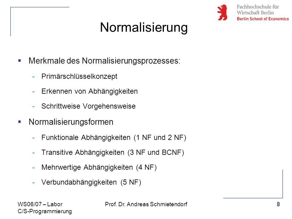 8 Prof. Dr. Andreas SchmietendorfWS06/07 – Labor C/S-Programmierung Normalisierung Merkmale des Normalisierungsprozesses: -Primärschlüsselkonzept -Erk