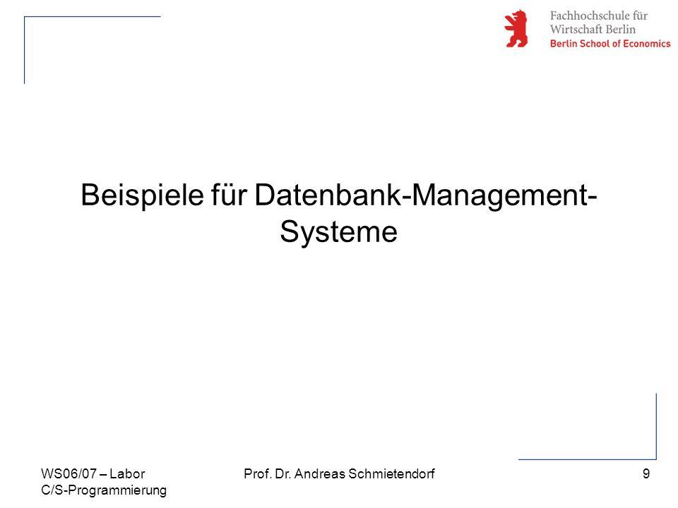 9 Prof. Dr. Andreas SchmietendorfWS06/07 – Labor C/S-Programmierung Beispiele für Datenbank-Management- Systeme