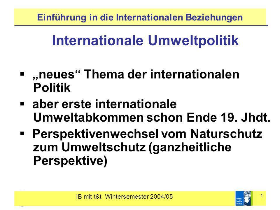 IB mit t&t Wintersemester 2004/05 1 Einführung in die Internationalen Beziehungen Internationale Umweltpolitik neues Thema der internationalen Politik aber erste internationale Umweltabkommen schon Ende 19.