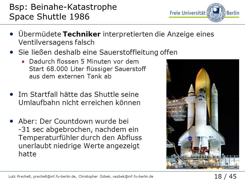 18 / 45 Lutz Prechelt, prechelt@inf.fu-berlin.de, Christopher Özbek, oezbek@inf.fu-berlin.de Bsp: Beinahe-Katastrophe Space Shuttle 1986 Übermüdete Te