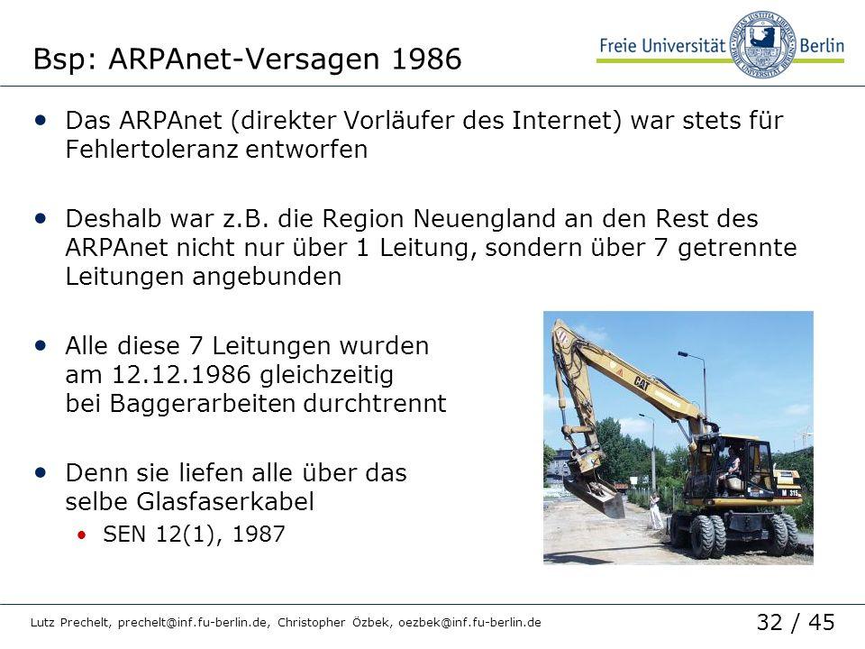 32 / 45 Lutz Prechelt, prechelt@inf.fu-berlin.de, Christopher Özbek, oezbek@inf.fu-berlin.de Bsp: ARPAnet-Versagen 1986 Das ARPAnet (direkter Vorläufe