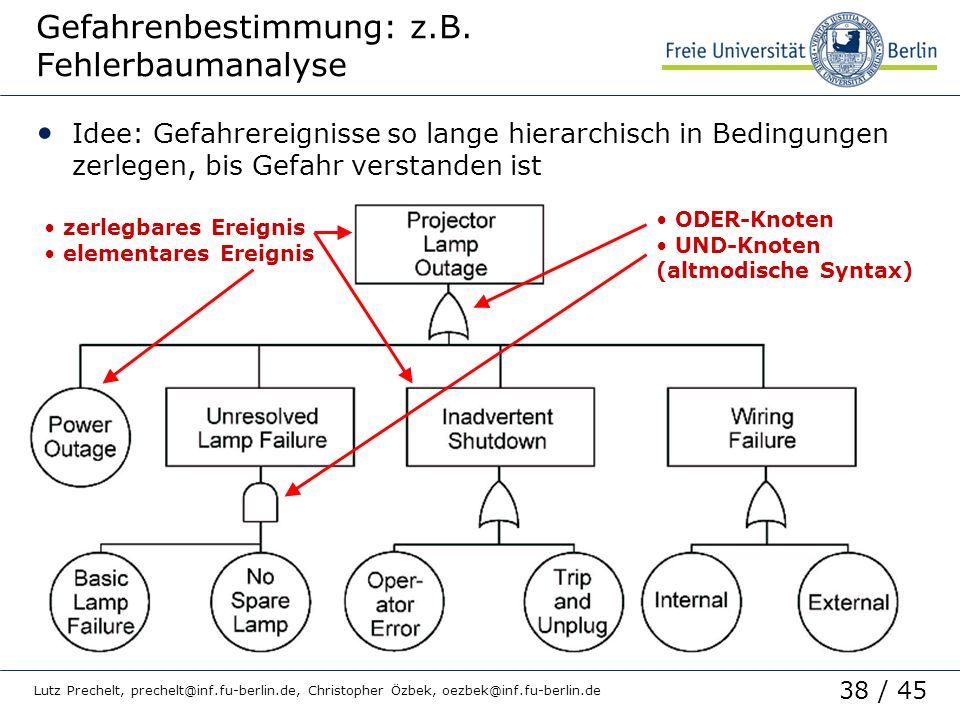 38 / 45 Lutz Prechelt, prechelt@inf.fu-berlin.de, Christopher Özbek, oezbek@inf.fu-berlin.de Gefahrenbestimmung: z.B. Fehlerbaumanalyse Idee: Gefahrer