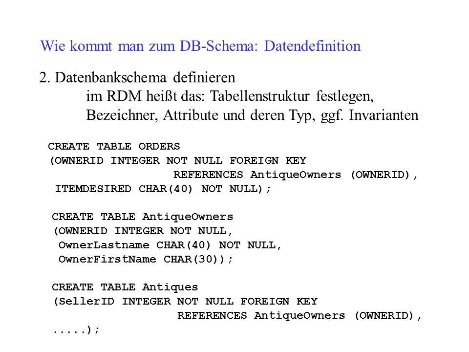 Wie kommt man zum DB-Schema: Datendefinition 2. Datenbankschema definieren im RDM heißt das: Tabellenstruktur festlegen, Bezeichner, Attribute und der