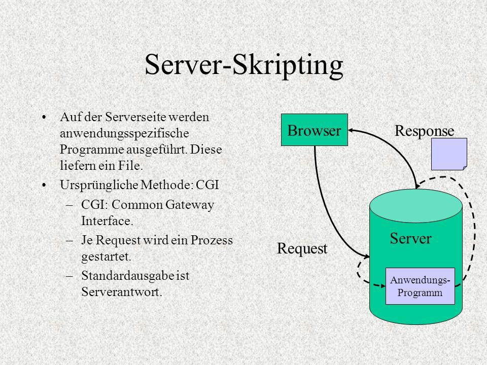 Server-Skripting Auf der Serverseite werden anwendungsspezifische Programme ausgeführt. Diese liefern ein File. Ursprüngliche Methode: CGI –CGI: Commo