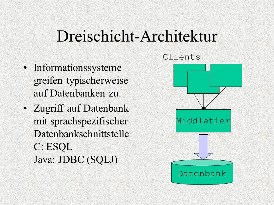 Dreischicht-Architektur Informationssysteme greifen typischerweise auf Datenbanken zu. Zugriff auf Datenbank mit sprachspezifischer Datenbankschnittst