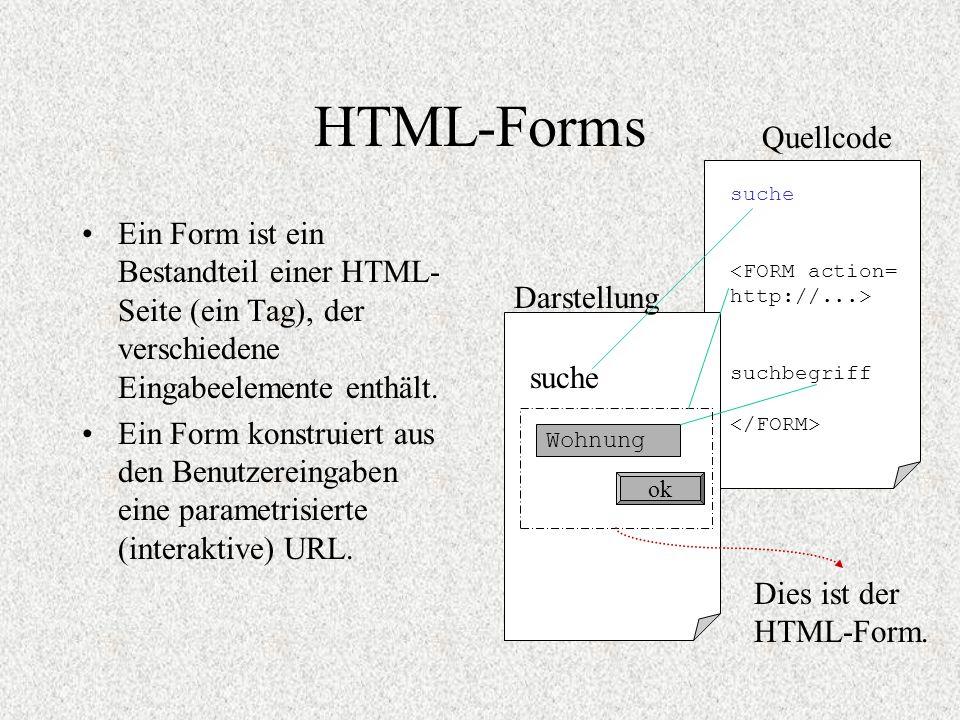 HTML-Forms Ein Form ist ein Bestandteil einer HTML- Seite (ein Tag), der verschiedene Eingabeelemente enthält. Ein Form konstruiert aus den Benutzerei